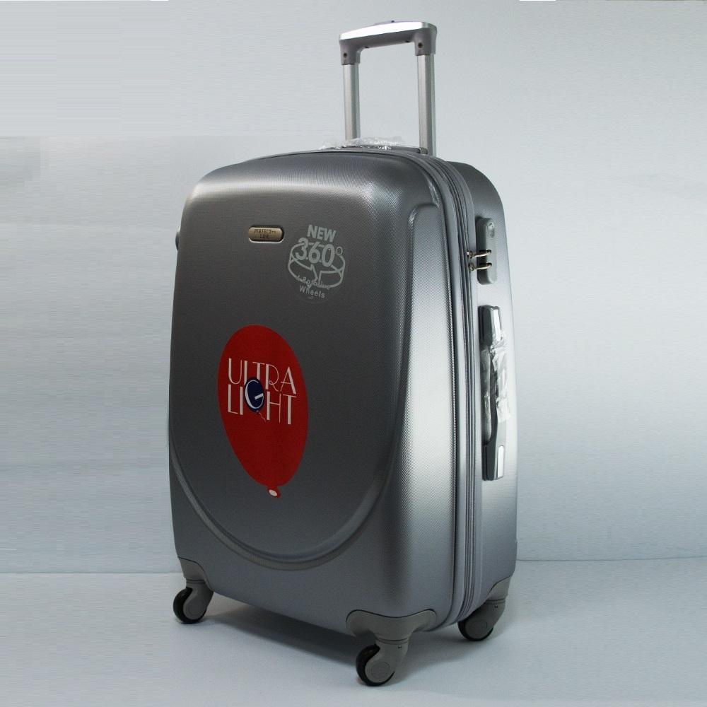 Разпродажба: среден размер аво куфар - спинър с разширение 1217 SILVER 360, твърд ABS