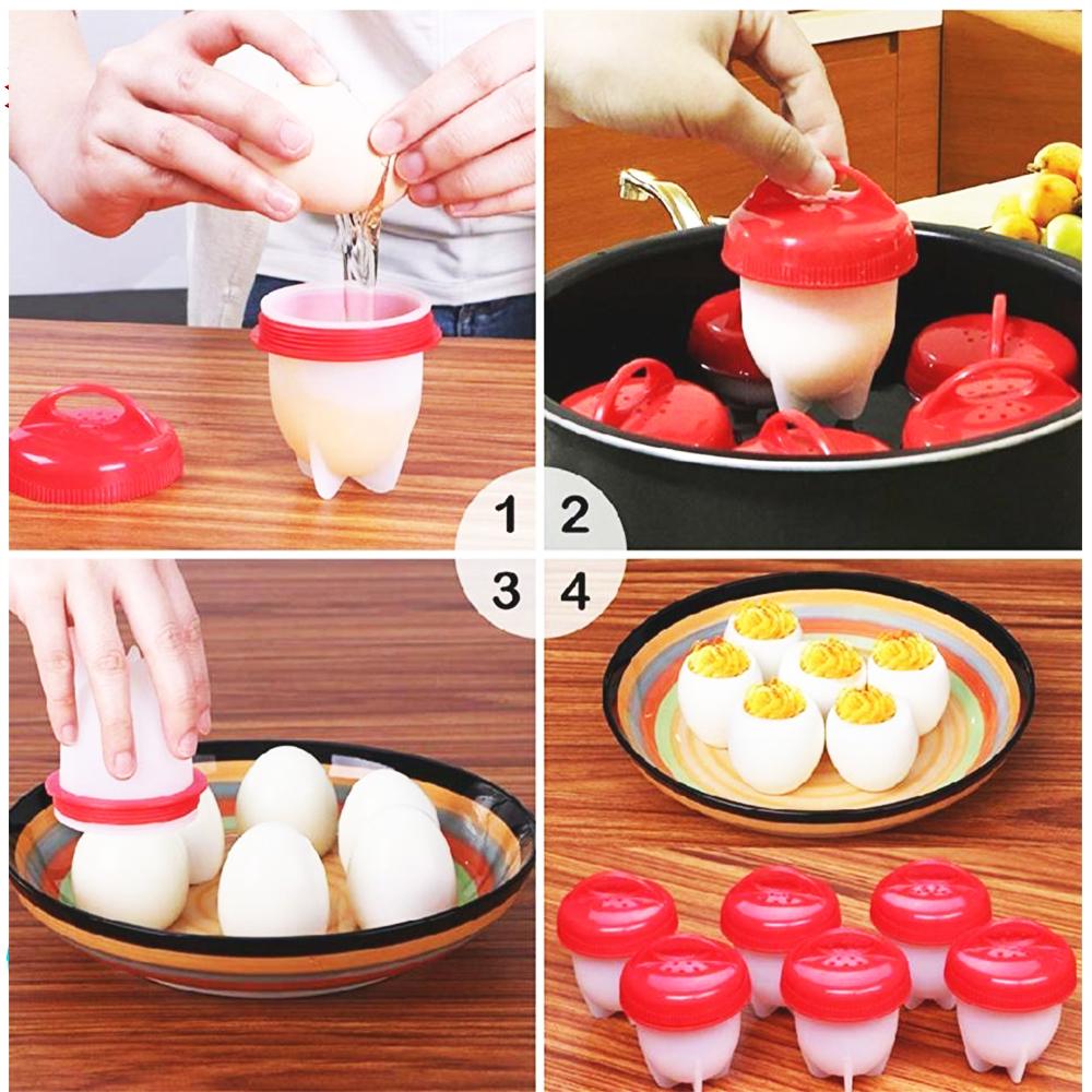 ЯЙЦАТА СА ВЕЧЕ ОБЕЛЕНИ!!! 6 уникални силиконови форми за варене на яйца EGGLETTES