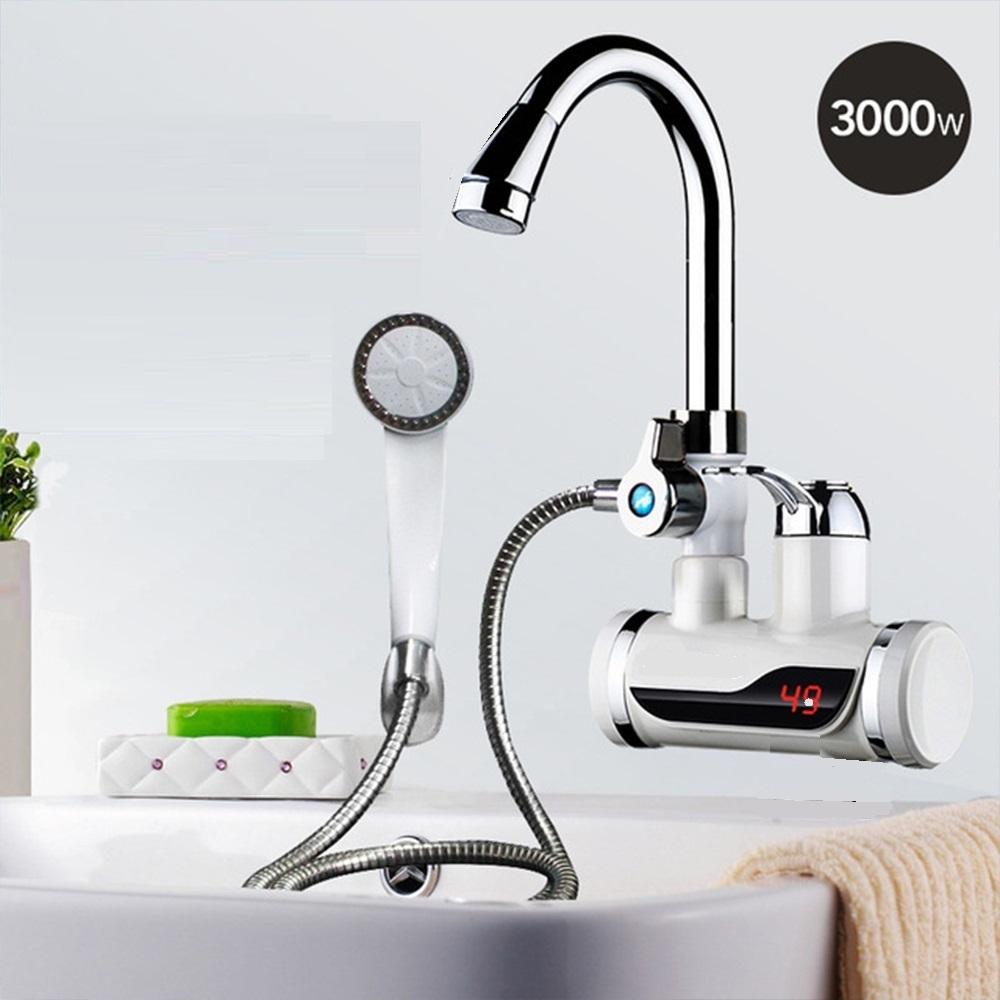 Комбиниран проточен смесител - бойлер - за мивка и душ 2 в 1, 3000W, ЗА СТЕНЕН МОНТАЖ