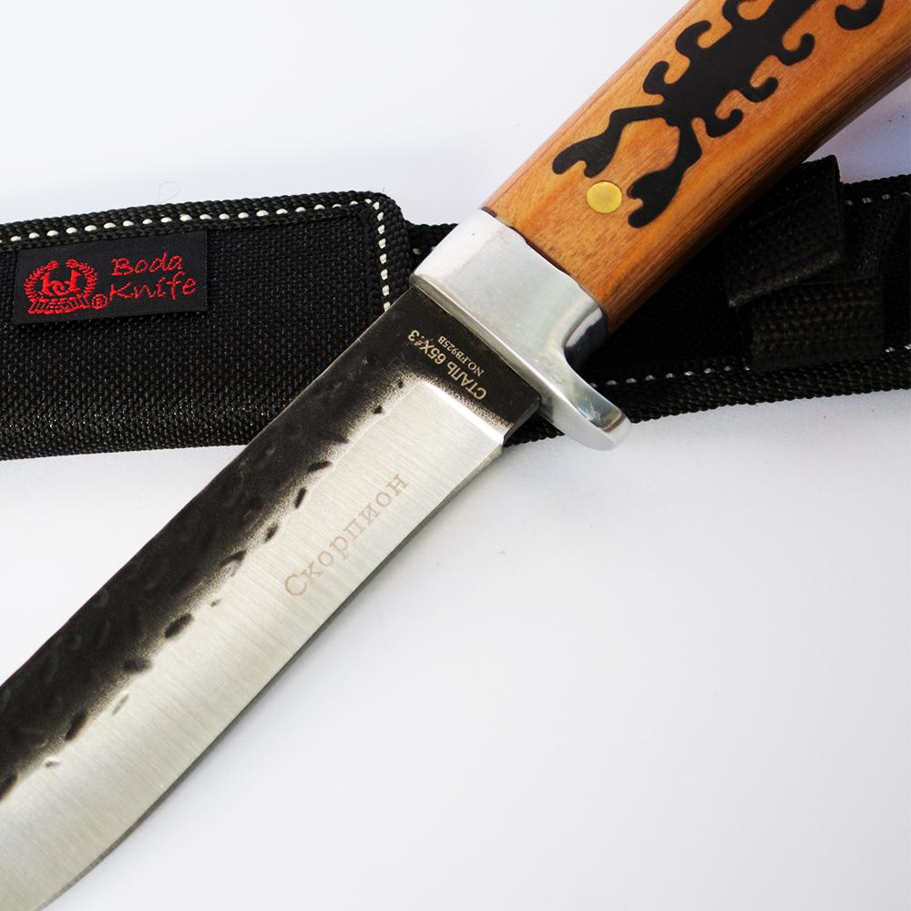 Среден размер руски ловен нож СКОРПИОН FB925B, ковано оксидирано острие, стомана 65х13