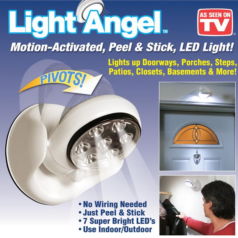 Автономна LED лампа LIGHT ANGEL с батерии осветява закрити тъмни пространства при движение