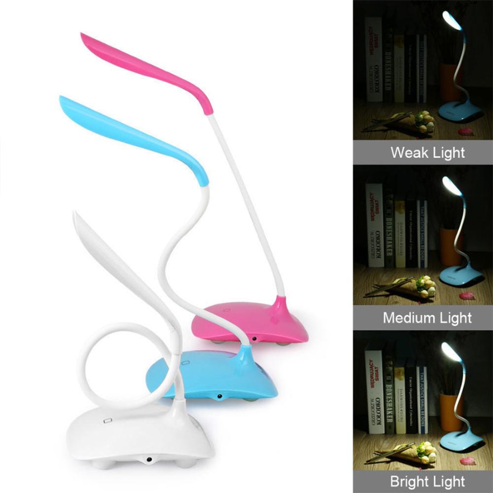 Красива настолна LED лампа със сензорен бутон - бяла или розова