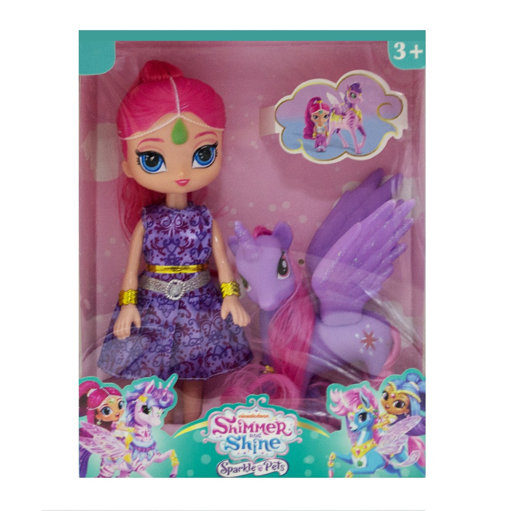Луксозен сет Кукла и Пони - Искрица и Сияйница, Shimmer and Shine, 3+