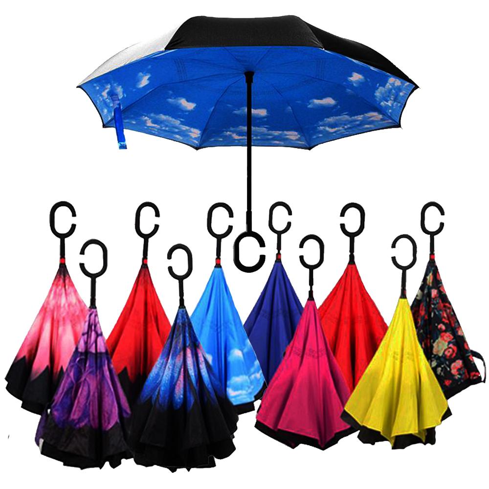 BF SALE: ветроупорен затварящ се наобратно чадър COOLBRELLA, здрав и удобен, случаен десен