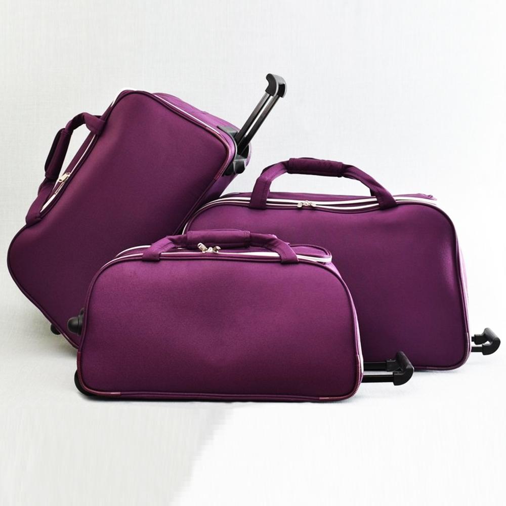 ТОП комплект 3 пътни чанти FERRAZZI с колелца и дръжка за теглене 1188 PURPLE