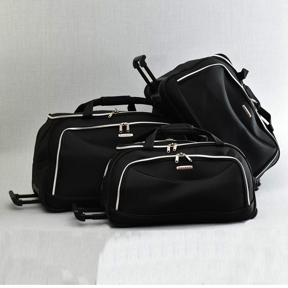ТОП комплект 3 пътни чанти FERRAZZI с колелца и дръжка за теглене 1188 BLACK