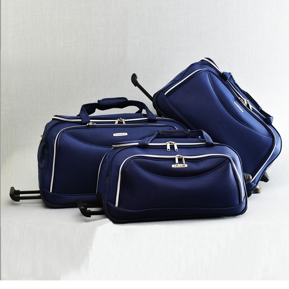 ТОП комплект 3 пътни чанти FERRAZZI с колелца и дръжка за теглене 1188 BLUE