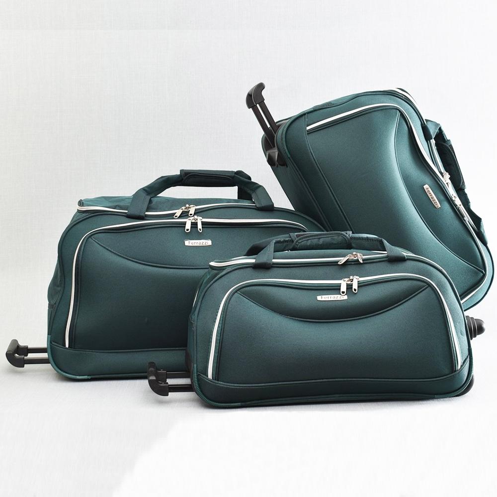 98e513857ac ТОП комплект 3 пътни чанти FERRAZZI с колелца и дръжка за теглене 1188 GREEN