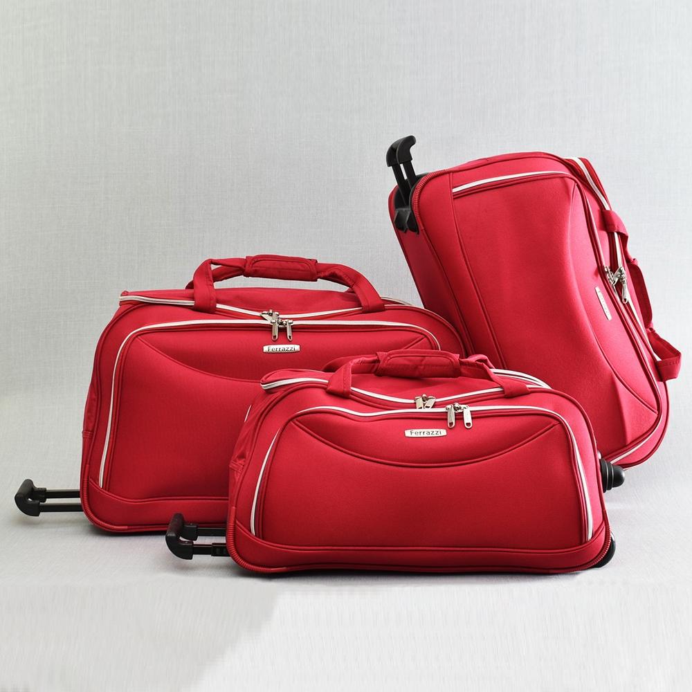 ТОП комплект 3 пътни чанти FERRAZZI с колелца и дръжка за теглене 1188 RED