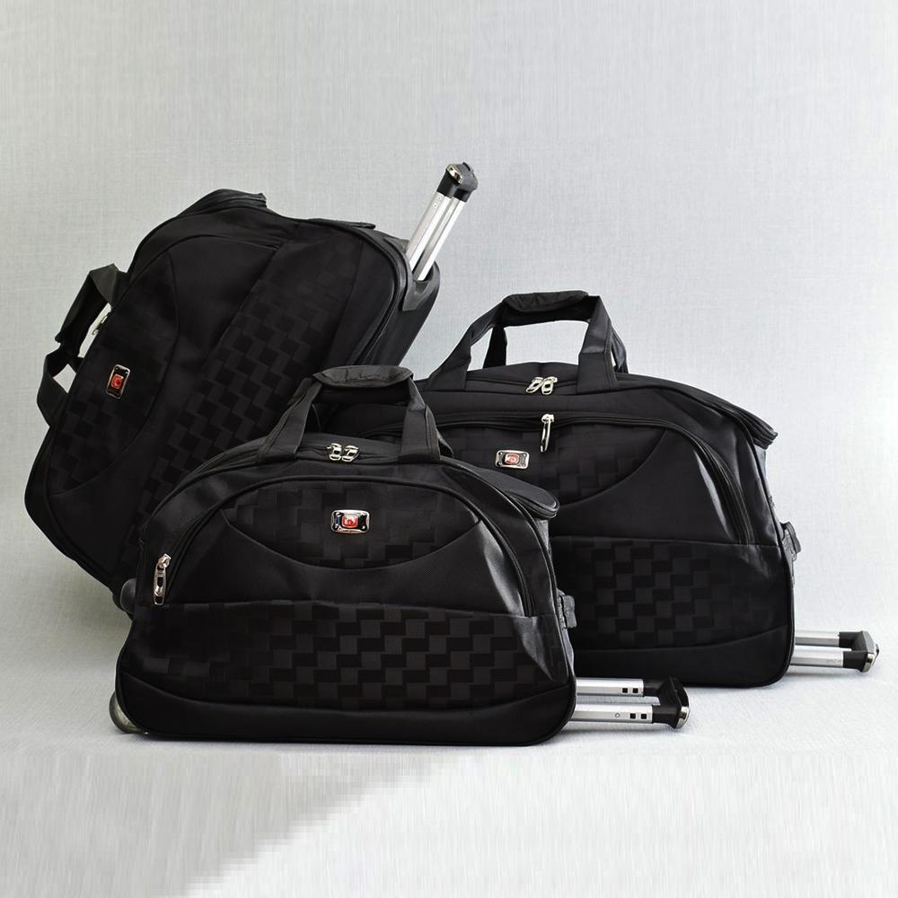 0930f9cd92b Комплект 3 големи пътни чанти с дръжка и колелца CARBON De LUX 31685 Black