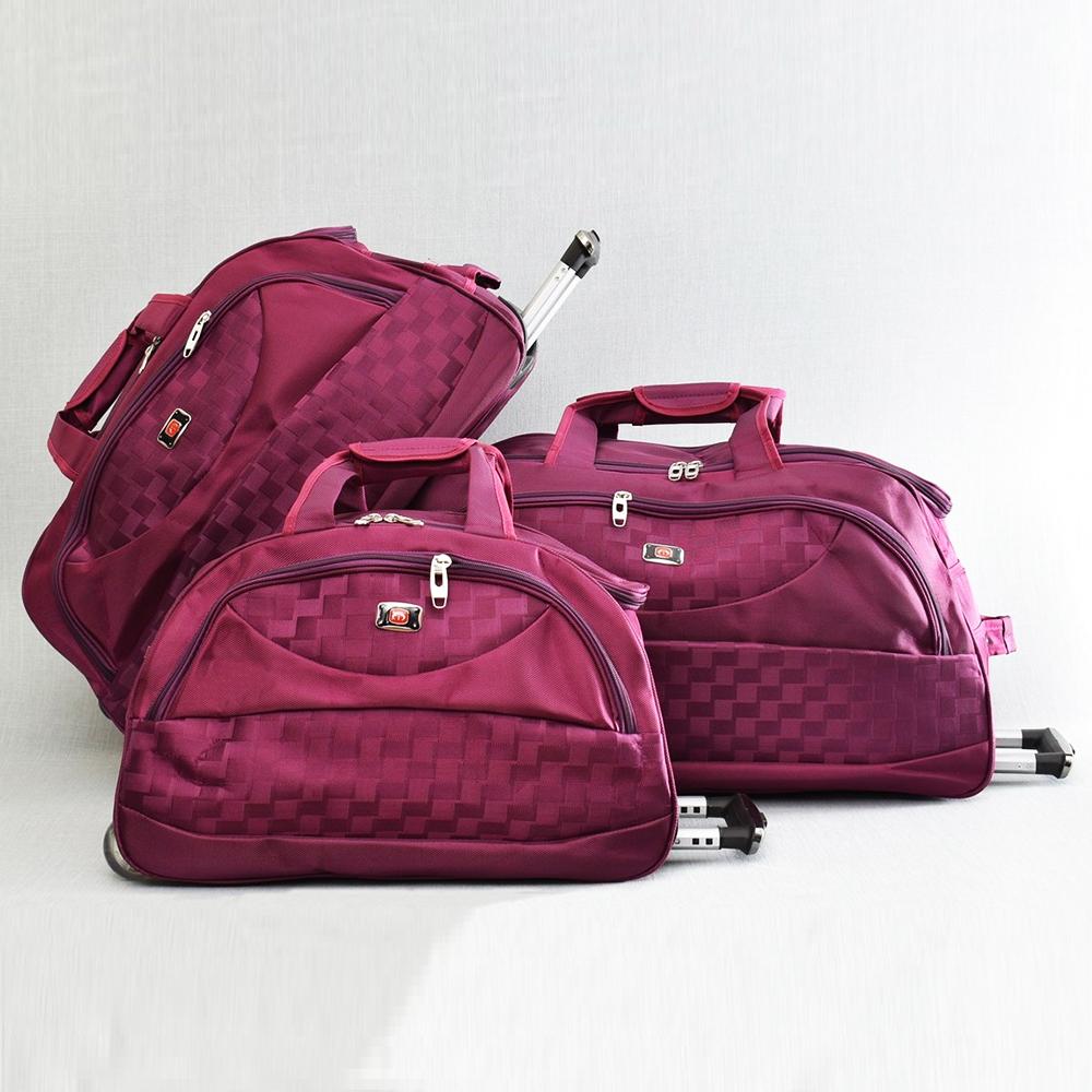 cf363a366b6 Комплект 3 големи пътни чанти с дръжка и колелца CARBON De LUX 31685 RED