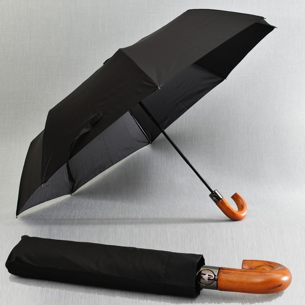 Класически автоматичен черен чадър с калъф и елегантна бамбукова дръжка, HENG DUN 21786