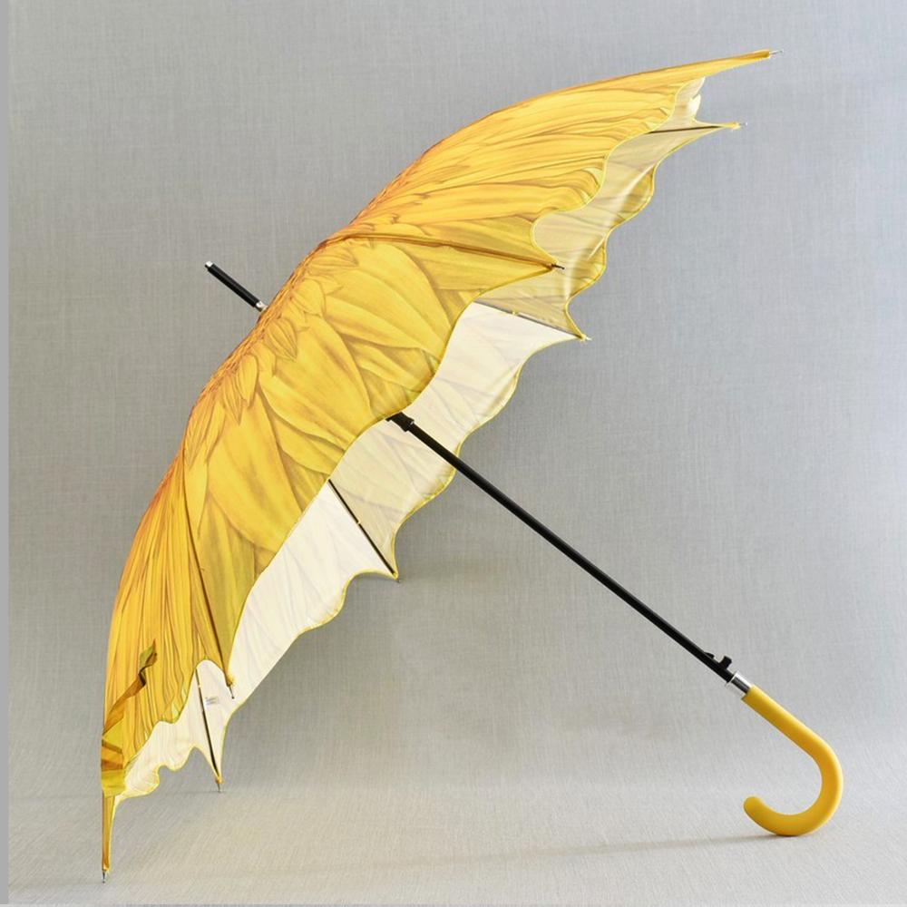 3D вълнообразен автоматичен дамски чадър SUMMER YELLOW FLOWER 14-449