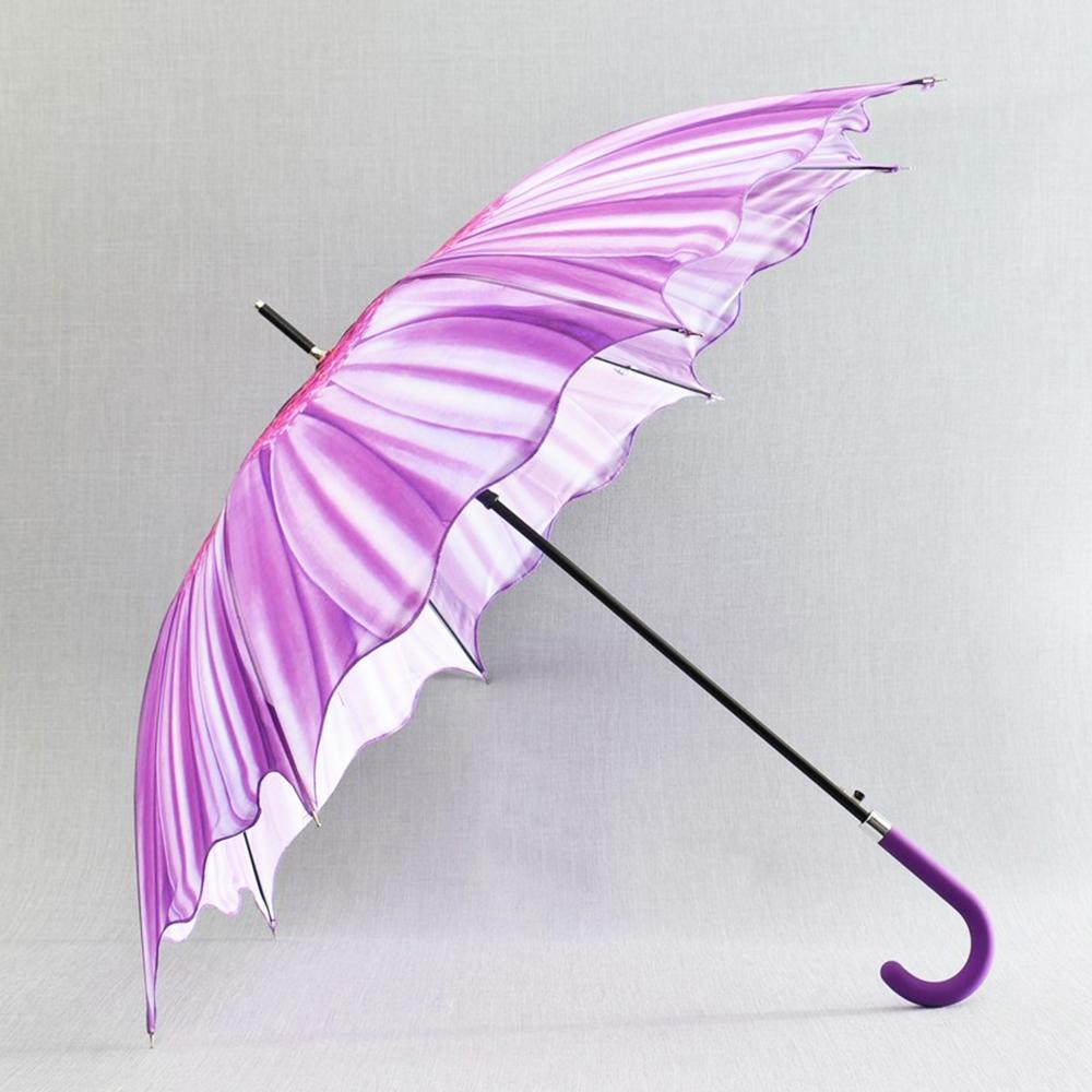 3D вълнообразен автоматичен дамски чадър SUMMER PURPLE FLOWER 14-449