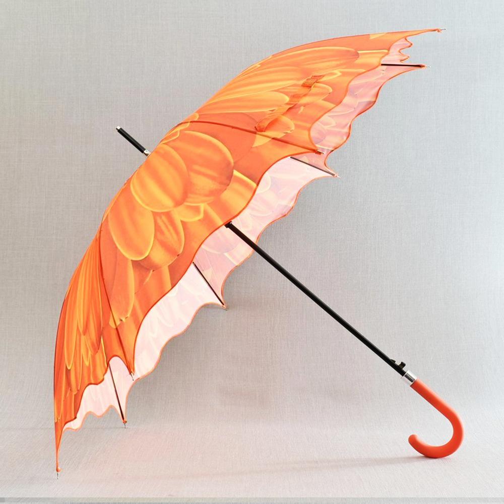 3D вълнообразен автоматичен дамски чадър SUMMER ORANGE FLOWER 14-449