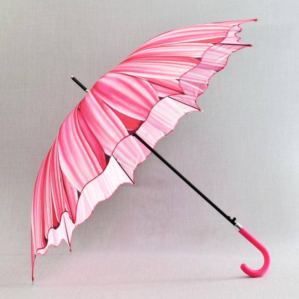 3D вълнообразен автоматичен дамски чадър SUMMER PINK FLOWER 14-449