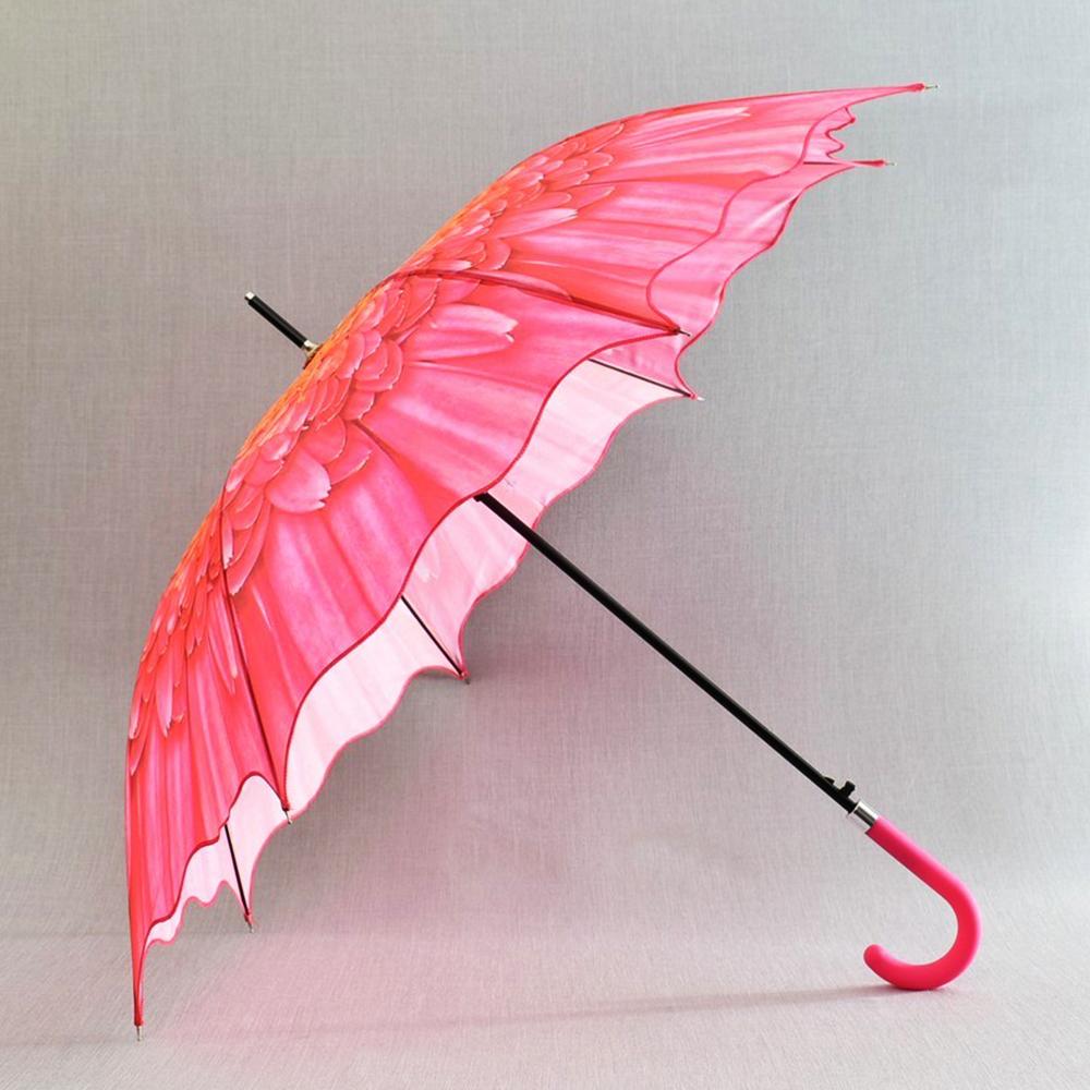3D вълнообразен автоматичен дамски чадър SUMMER DARK PINK FLOWER 14-449