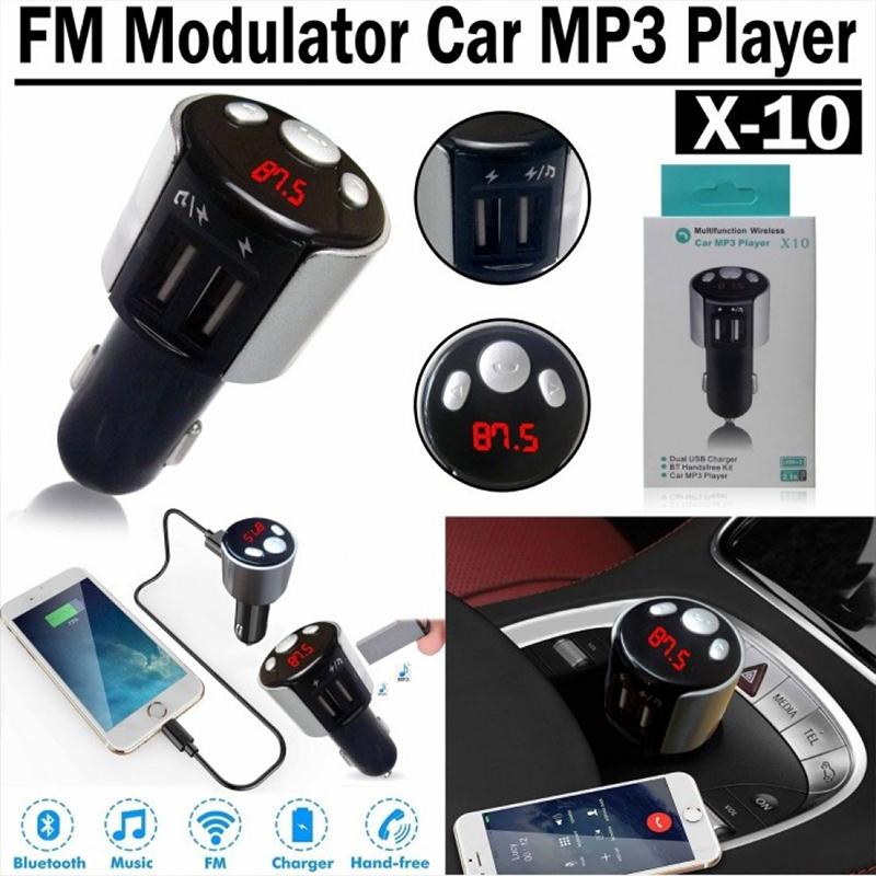 Класен блутут FM трансмитер модулатор X10, MP3, USB x2, мощно двойно USB зарядно