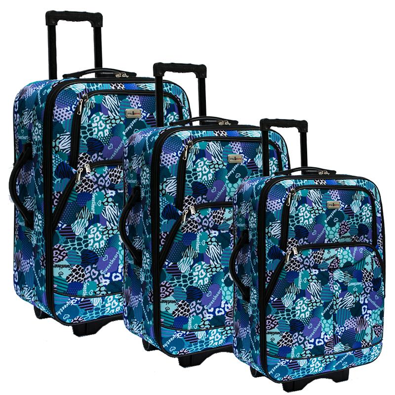 3 супер леки куфари текстил-стомана с разширение SUMMER GREEN 614-3 безплтна доставка