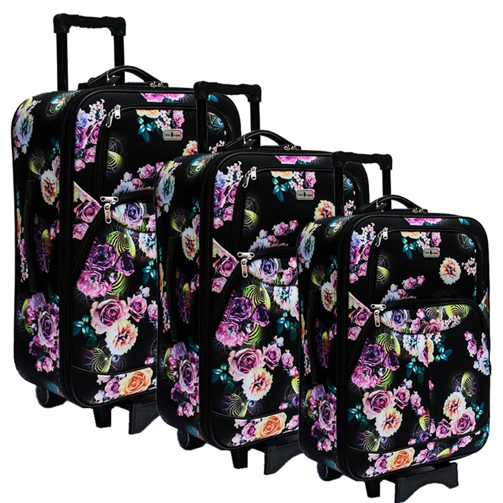 3 супер леки куфари текстил-стомана с разширение SUMMER BLACK 614- безплтна доставка