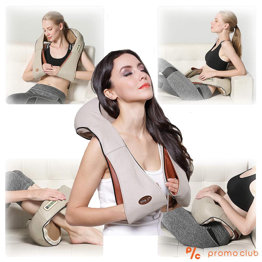 Луксозен 3D дълбокотъканен шиацу масажор FS JAP MASSAGE за врата и цялото тяло