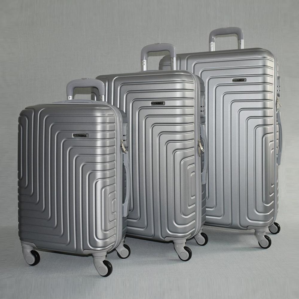 Комплект твърди и леки бизнес клас куфари - спинъри с всички екстри  QUADARAL 8071 SILVER