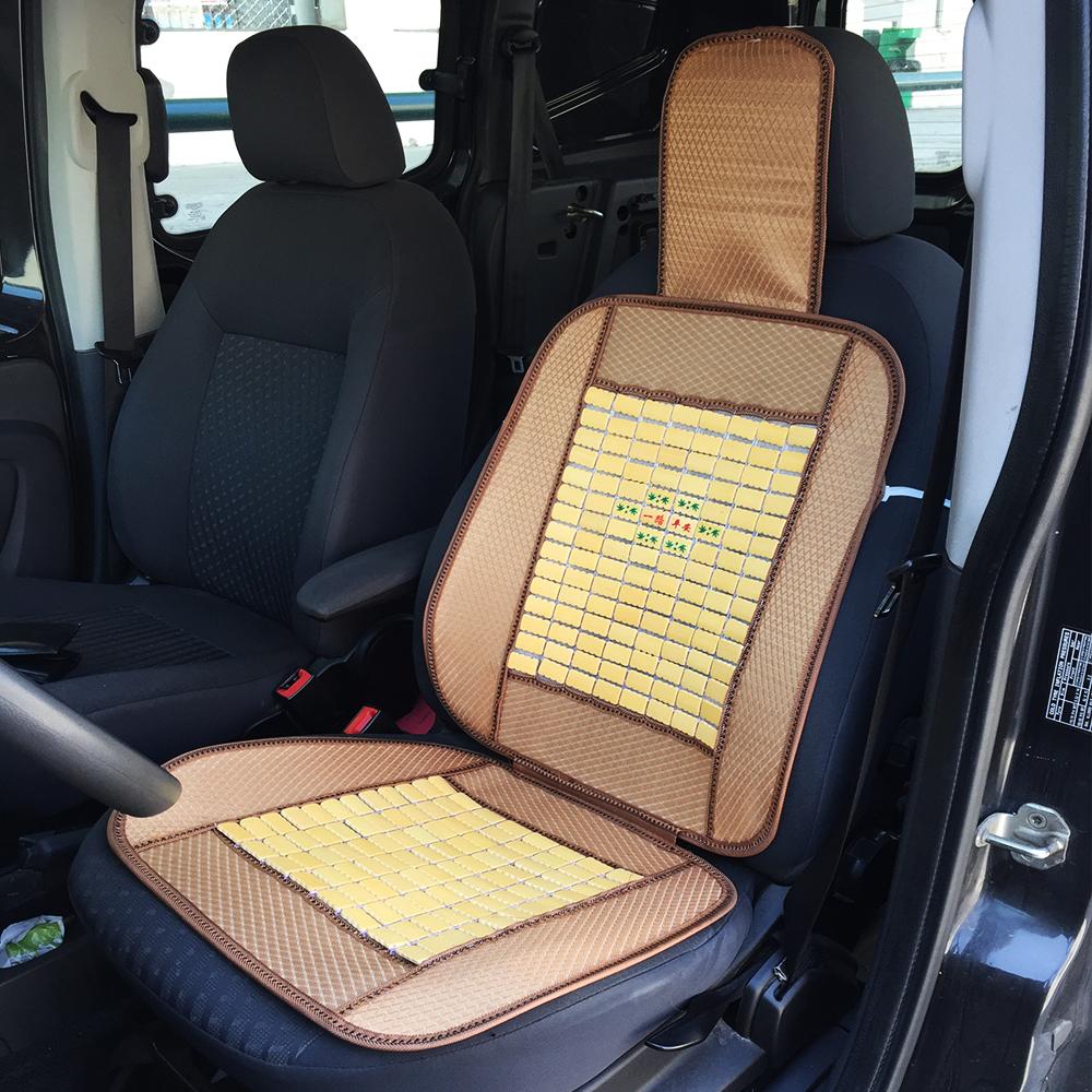 Две Леки Летни Бамбуково-Текстилни Авто Постелки За Предните Седалки