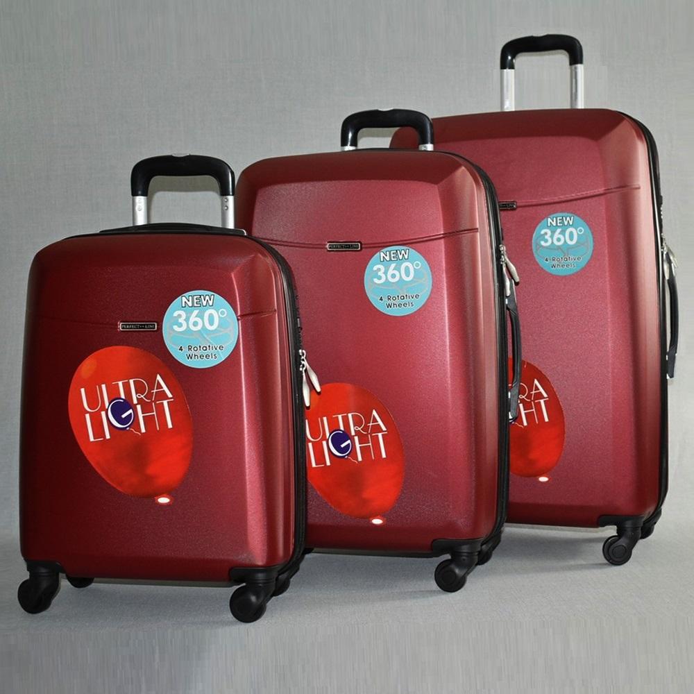 Комплект луксозни разширяващи се куфари - спинъри ULTRA LIGHT TRAVELER 8093 BORDEAUX