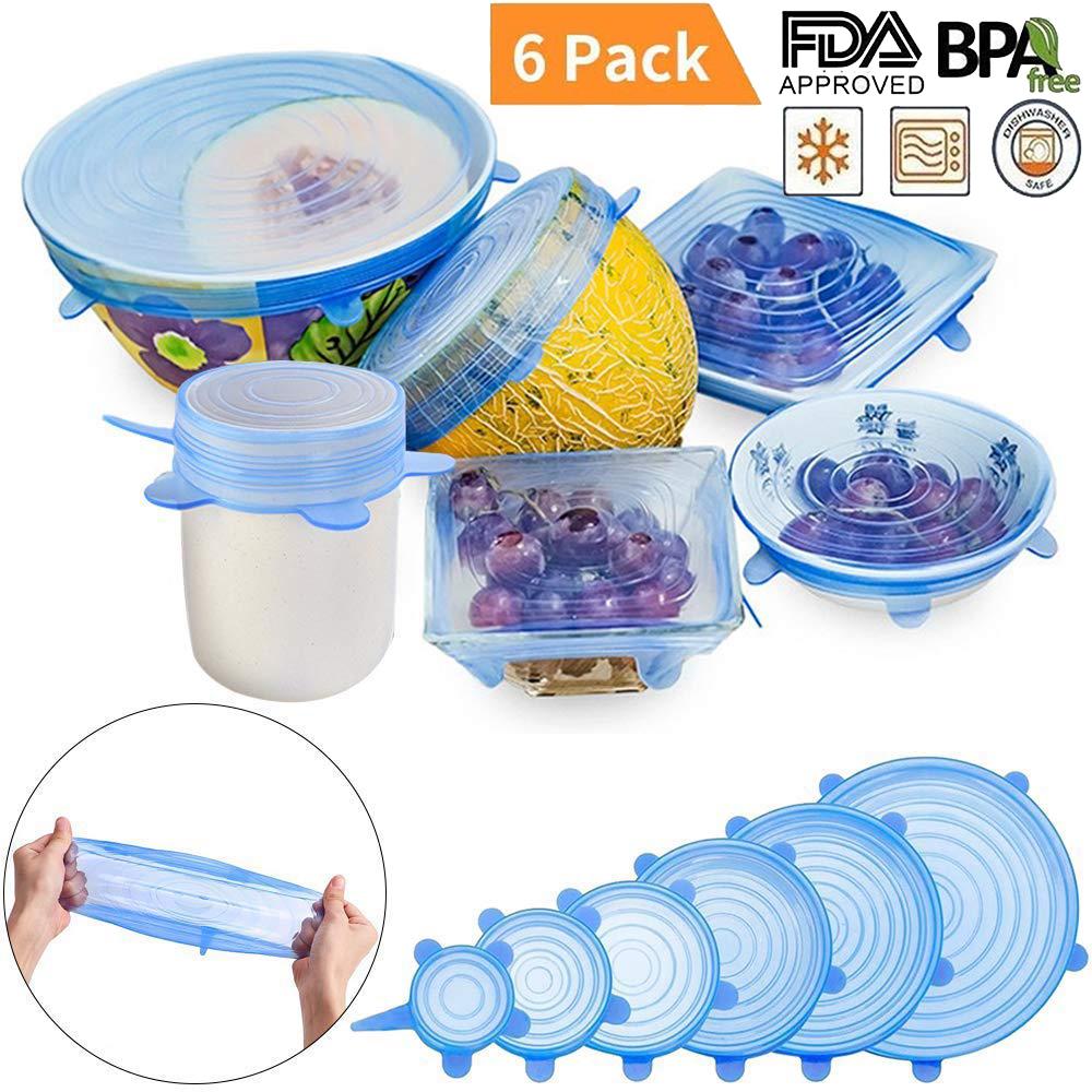 6 разтегателни силиконови капаци Strech Lid Covers за всякакви съдове пазят храната свежа