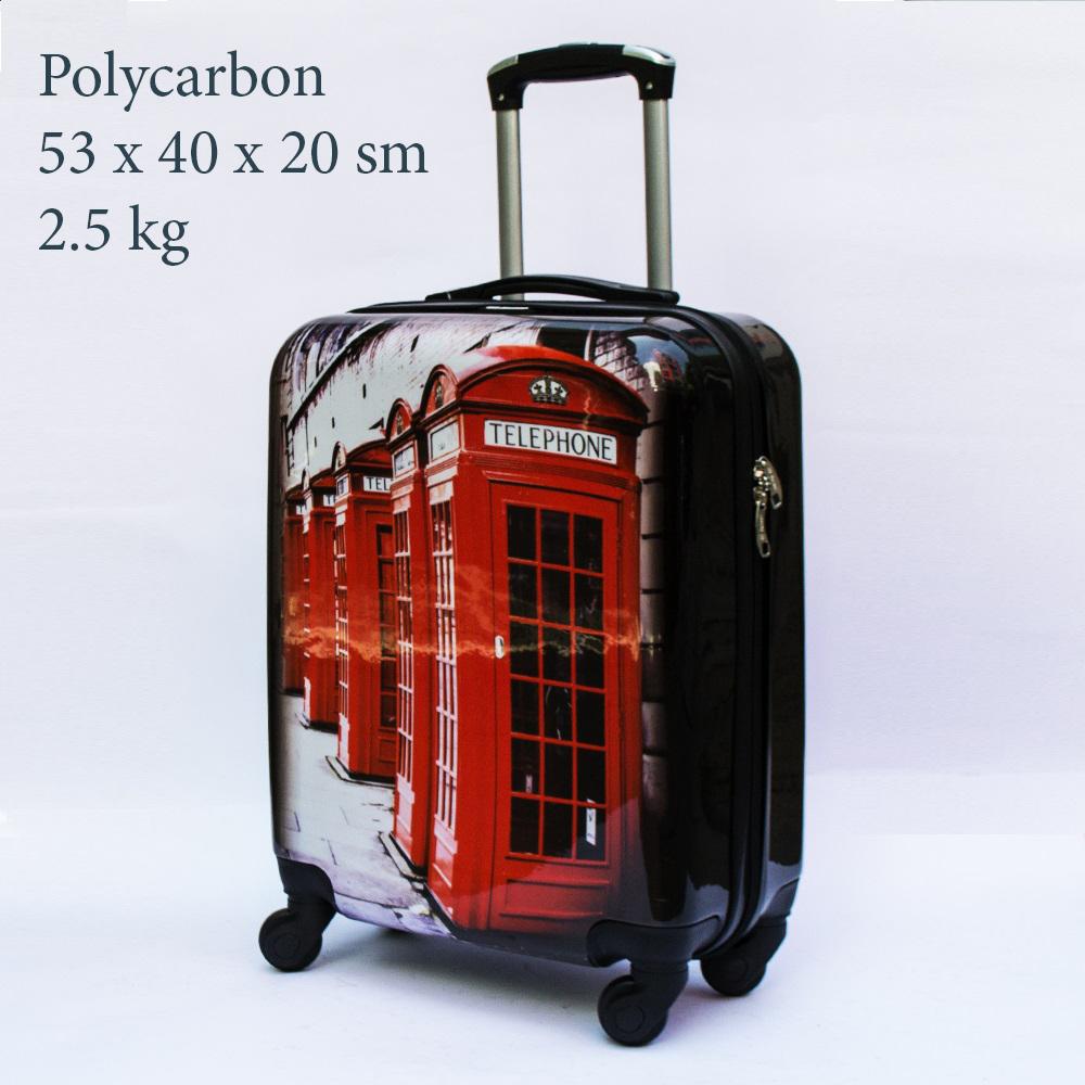 Куфар-спинър за ръчен багаж GREAT BRITAIN 910 LIMITED, поликарбон, RED CABIN