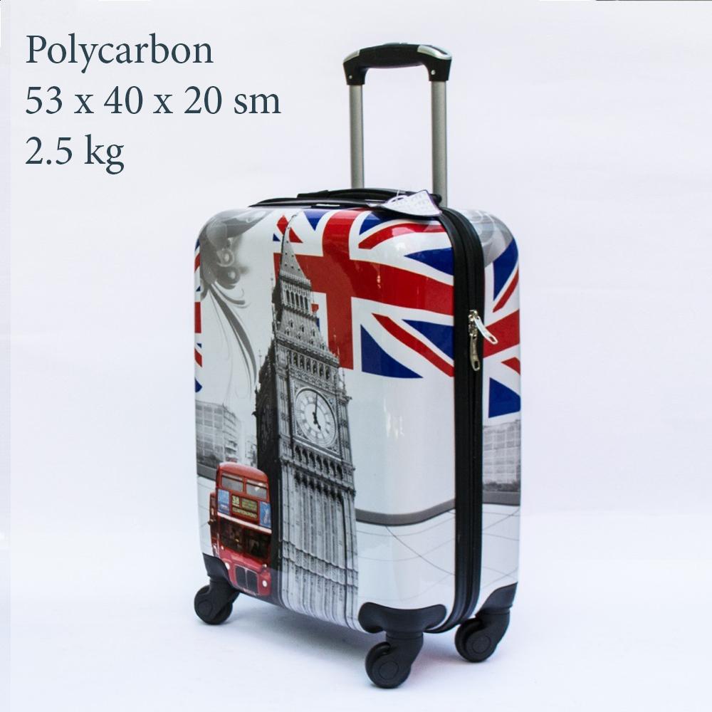 Куфар-спинър за ръчен багаж GREAT BRITAIN 910 LIMITED, поликарбон, RED BUS & LONDON TOWER