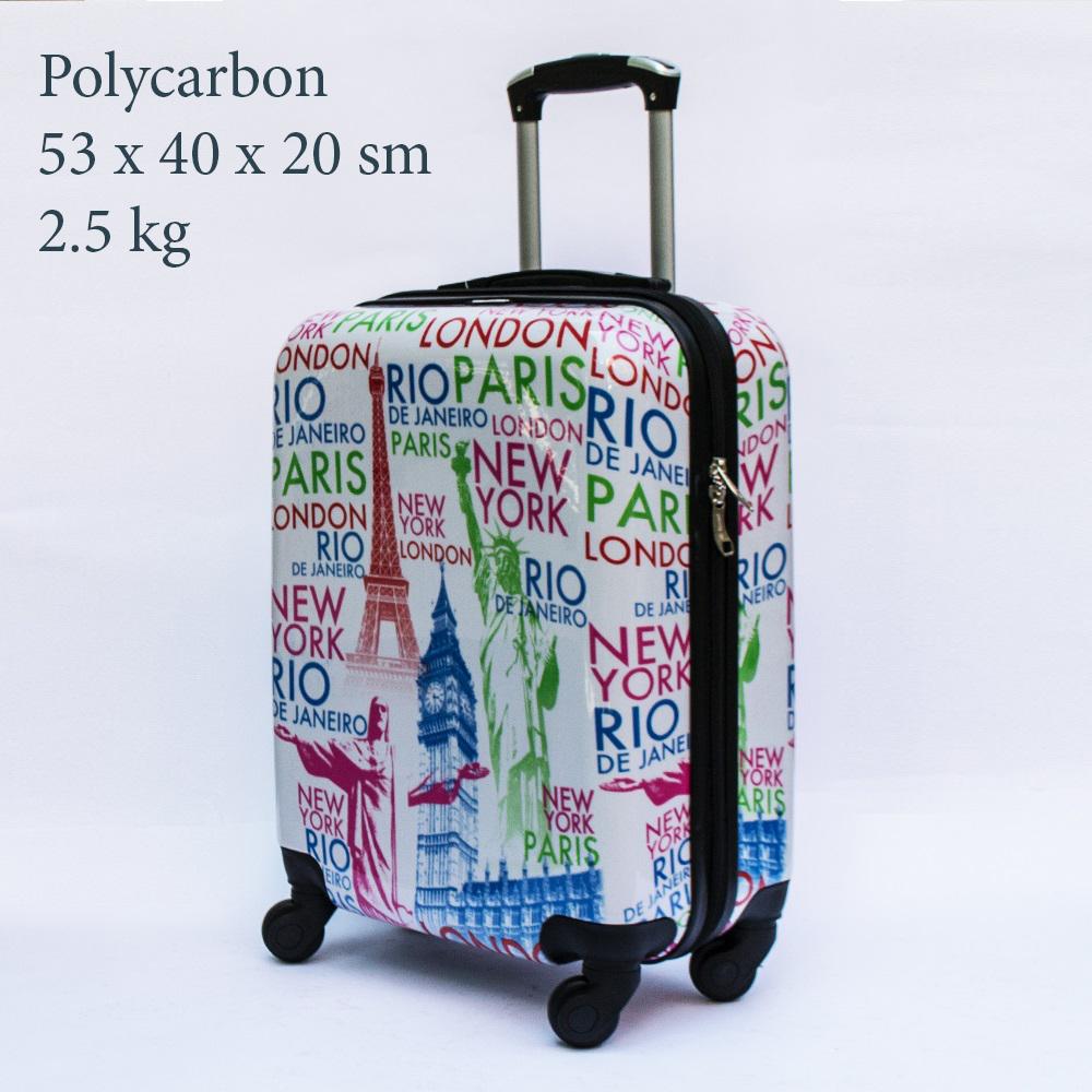 Куфар-спинър за ръчен багаж GREAT BRITAIN 910 LIMITED, поликарбон, PARIS, LONDON, RIO, NY