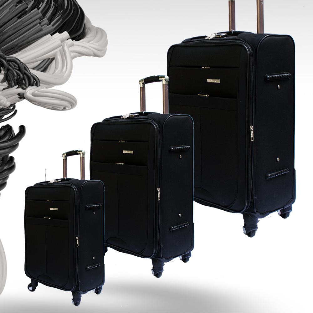 Комплект разширяващи се куфари-спинъри с 4 колела TRANSIT N60 BLACK, ТЕКСТИЛ