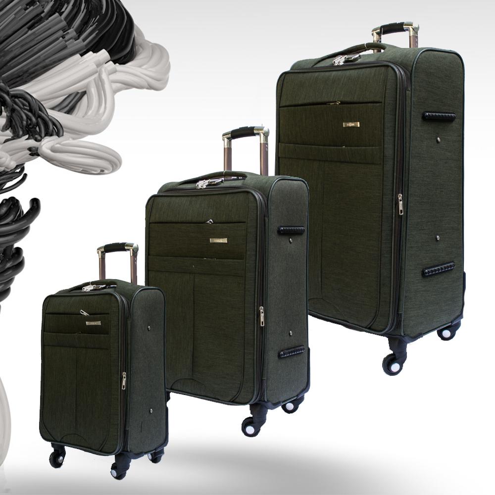 Комплект разширяващи се куфари-спинъри с 4 колела TRANSIT N60 GREEN, ТЕКСТИЛ