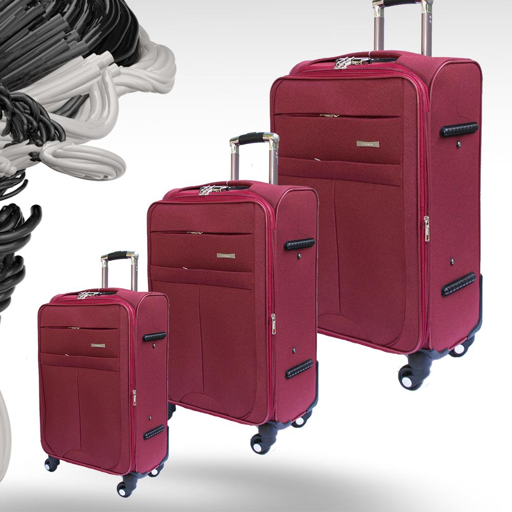 Комплект разширяващи се куфари-спинъри с 4 колела TRANSIT N60 RED, ТЕКСТИЛ