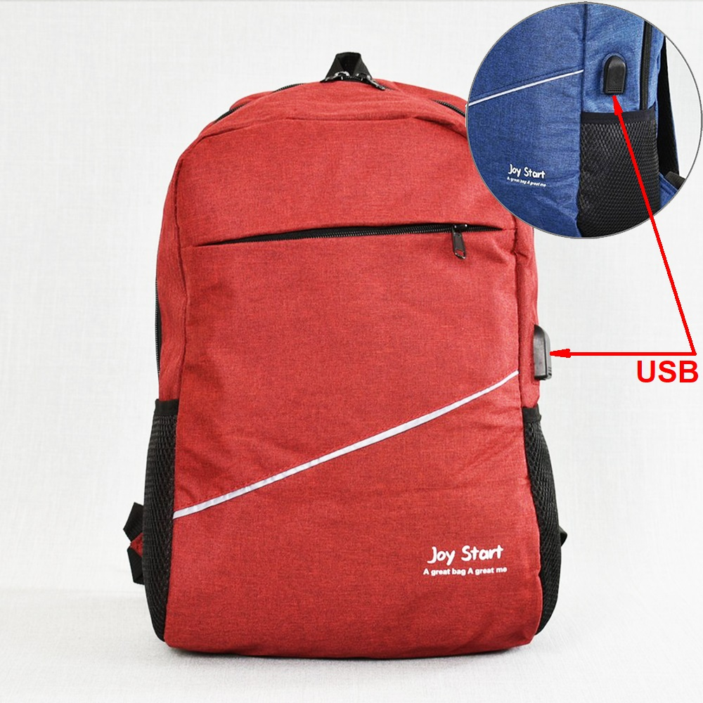 Лека защитена USB раница за лаптоп  JPY START 31590 RED