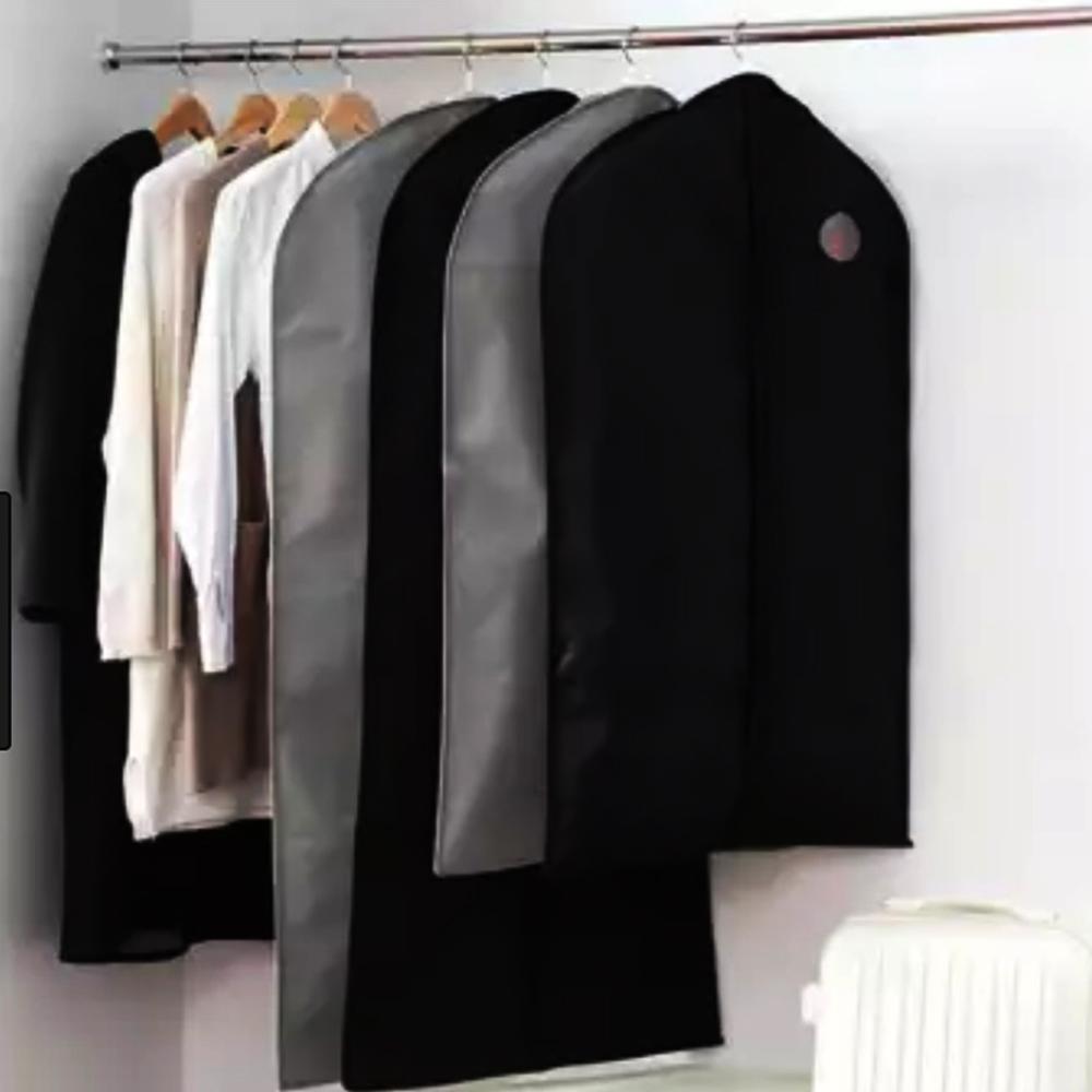 Първокласен калъф с цип за съхранение на костюми CLOTHING DUST, черен, 60 х 137 sm