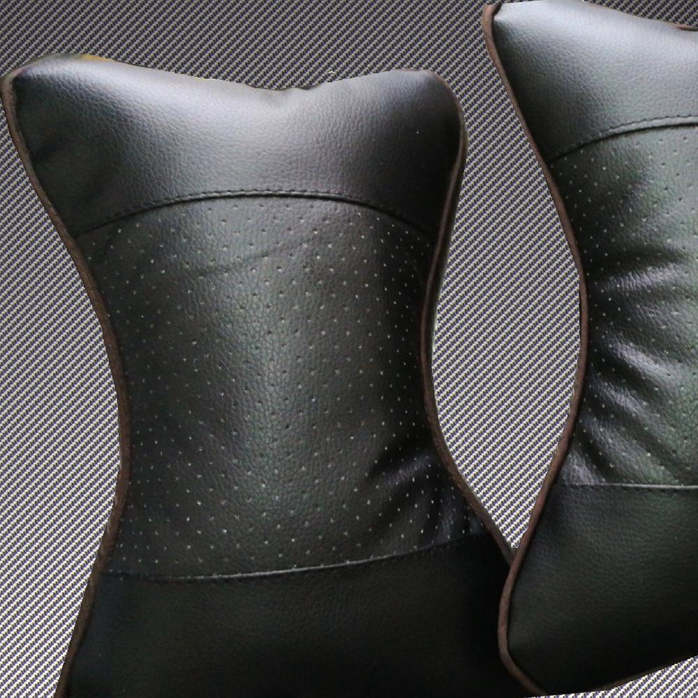 Луксозни кожени авто възглавнички, комфорт и лукс на пътя, вентилирани, анатомични, 1 бр.