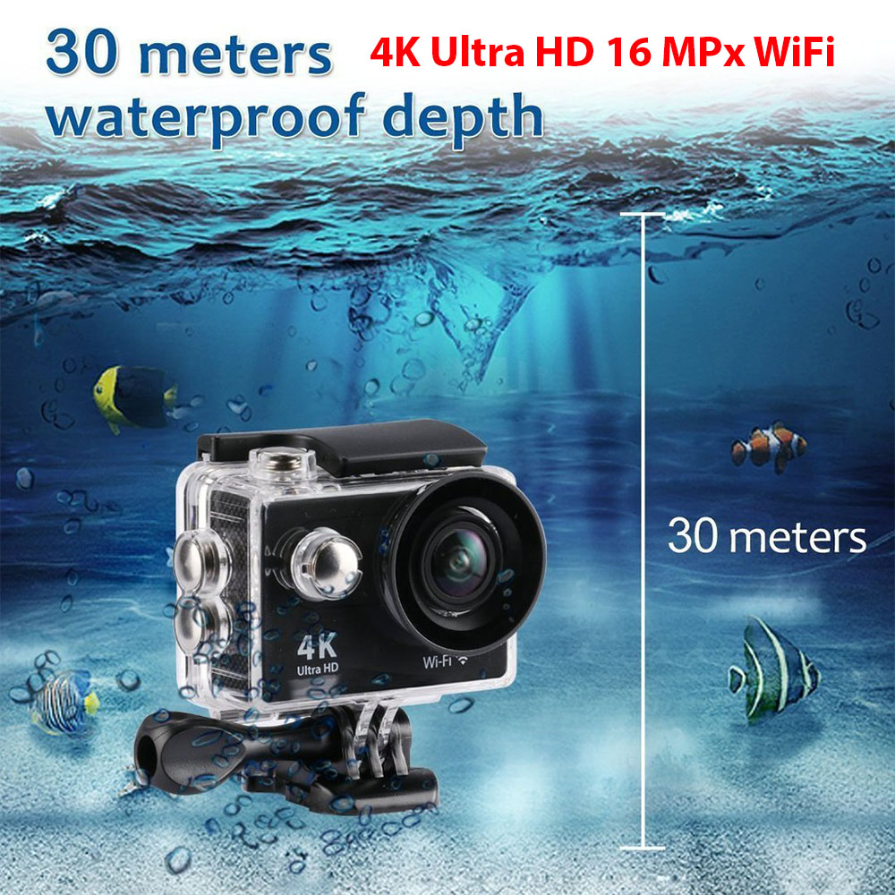 4K Ultra HD екшън камера, 16MPx, WiFi, до 30 метра под вода, до 64GB