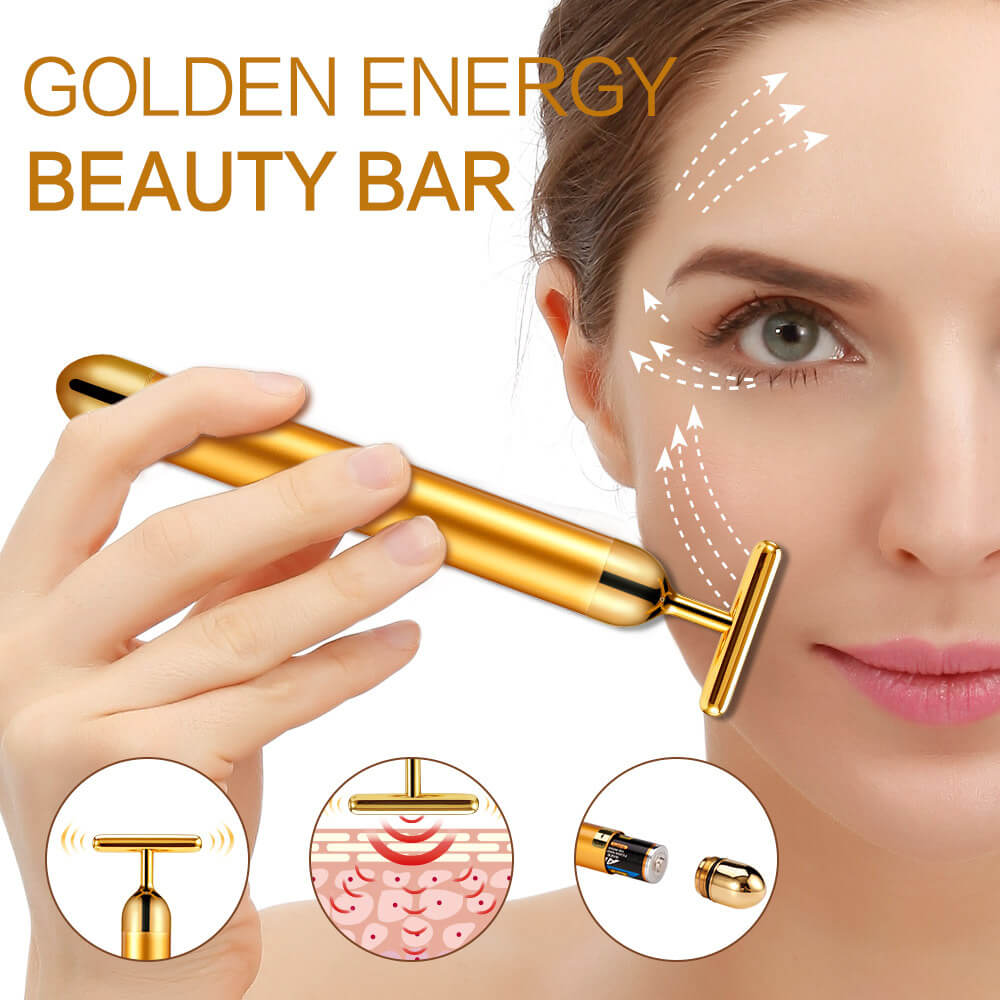 24K анти ейдж масажор за лице със златно покритие - лифтира, изглажда, повдига, YOUR FIX