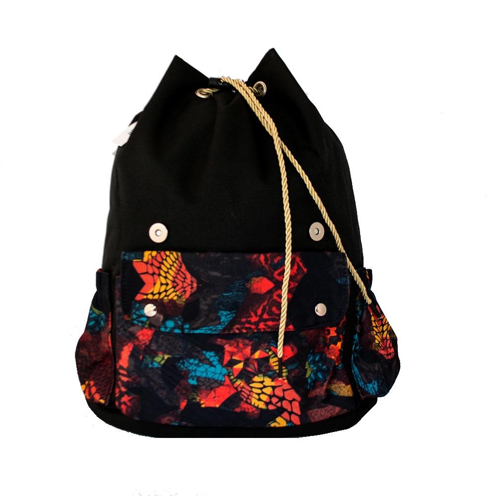 Дамска раница-торба 12520 ORANGE GARDEN, промазан брезент, кожени елементи,  36 см