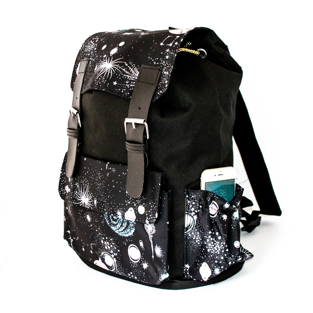 Дамска раница-торба 12520 BLACK STAR, промазан брезент, кожени елементи,  36 см
