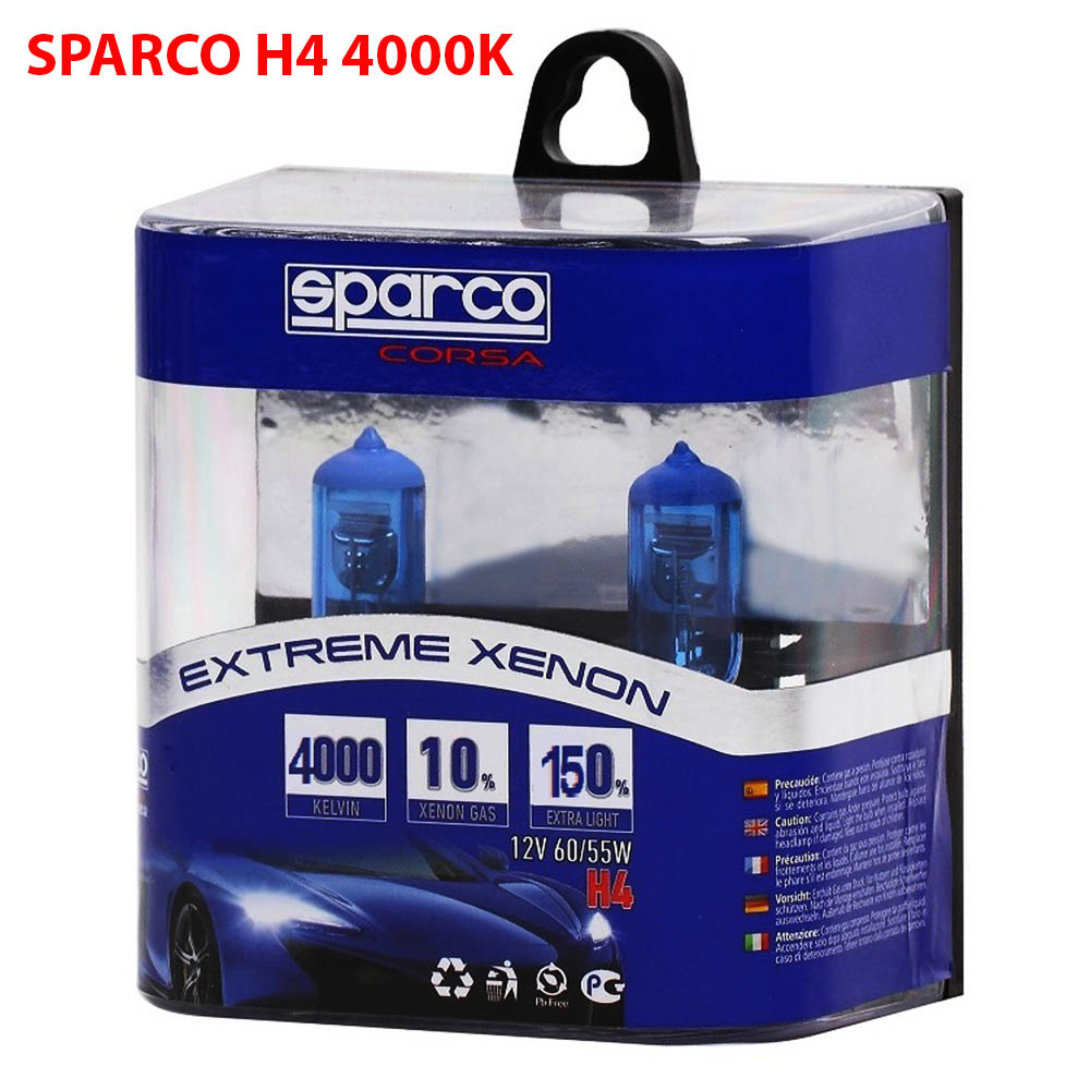 2 Броя SPARCO EXTREME XENON Авто Крушки H4 12V 55W 4000K 10% Xenon Gas
