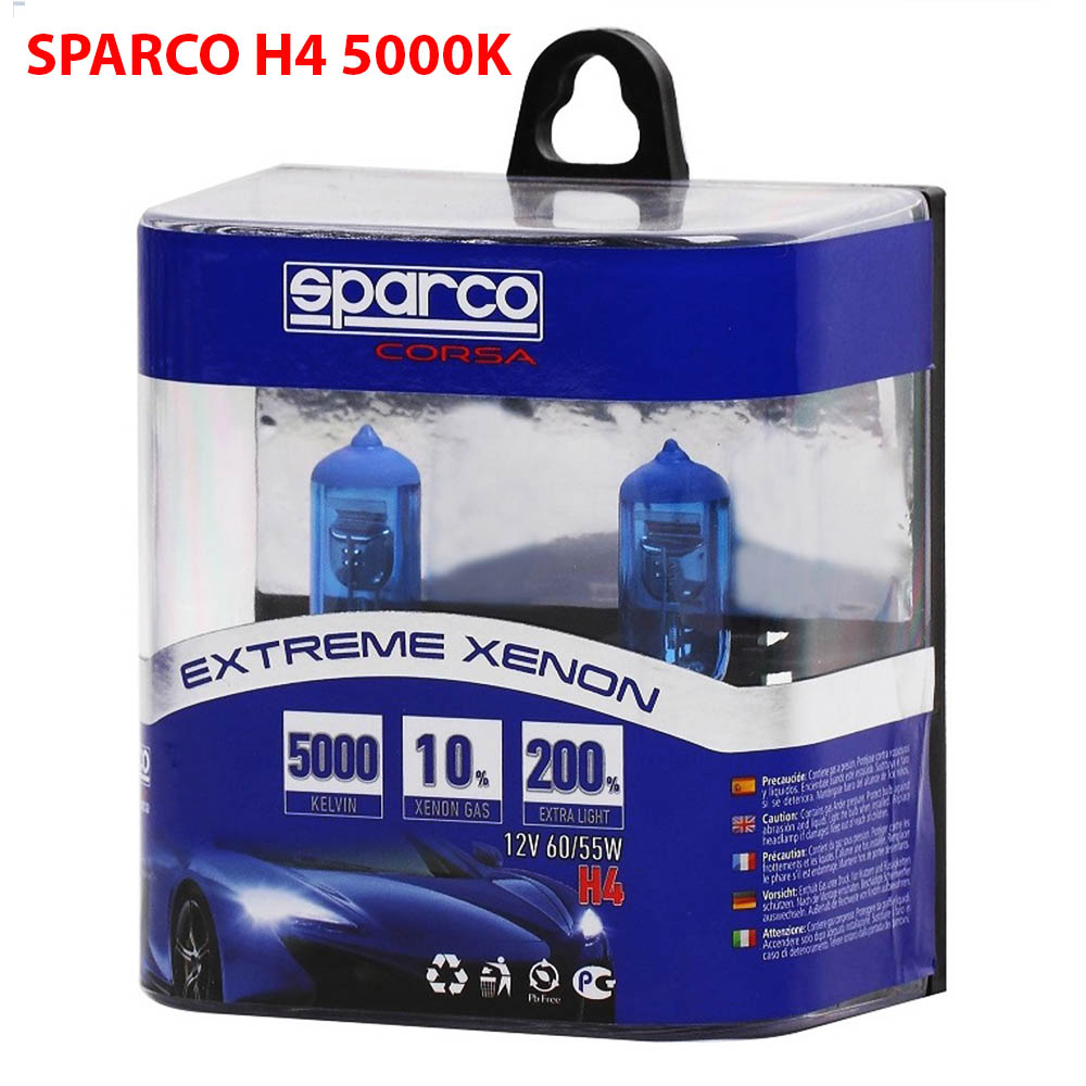 2 Броя SPARCO EXTREME XENON Авто Крушки H4 12V 55W 5000K 10% Xenon Gas
