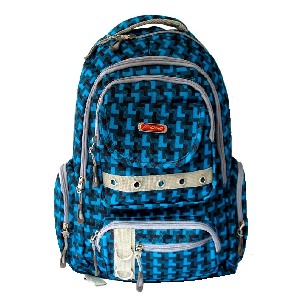 РАЗПРОДАЖБА: висок клас голяма ученическа раница KUAIBU 9038 BLUE,  48 см, туризъм и спорт