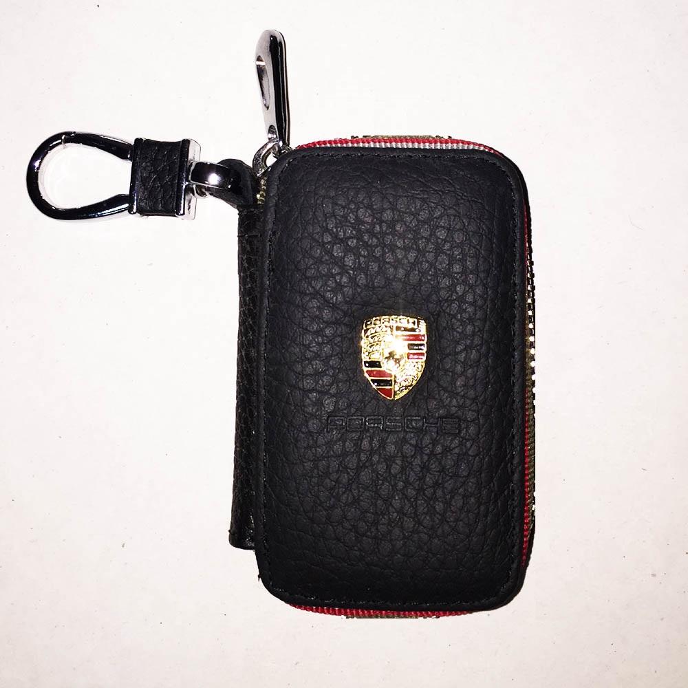 Луксозен ключодържател PORSCHE с калъф за ключовете, естествена кожа