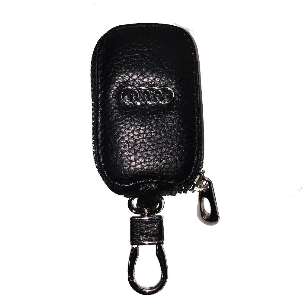 Луксозен ключодържател AUDI с калъф за ключовете, естествена кожа