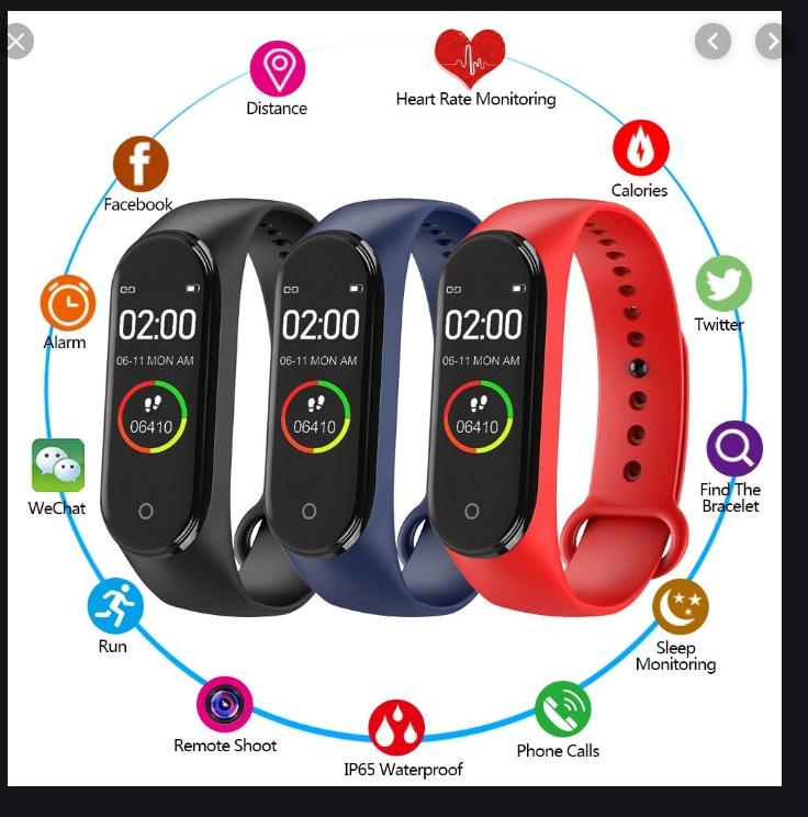 Медицинска фитнес гривна М4 модел 2019 г. за пълен мониторинг на здравето и тонуса