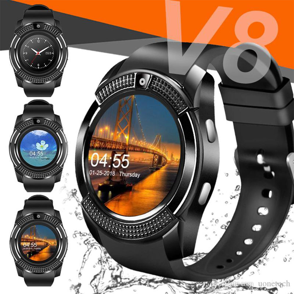 Стилен смарт часовник V8 BLACK с блутут, камера и SIM карта, смарт телефон на ръката ти