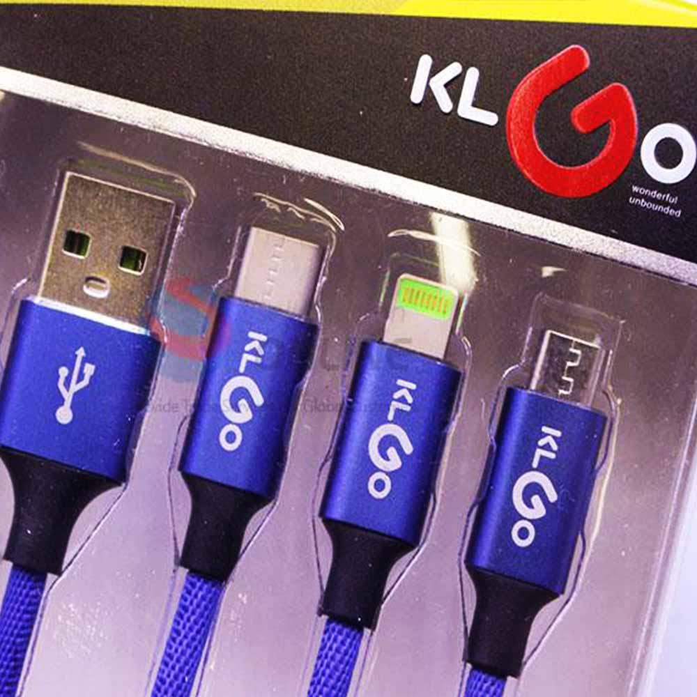 Здрав бързо зареждащ мулти кабел 3 в 1 KLGO S-687 USB / iPhone / TYPE C / microUSB